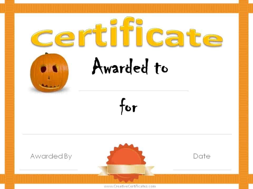 Free Halloween Costume Awards inside Halloween Costume Certificates 7 Ideas Free
