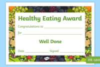 Free  Healthy Eating Award Certificates Teacher Made within Awesome Certificate Of Cooking 7 Template Choices Free