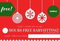 Free Instant Pdf Download  Babysitting Coupon  Nanny for Babysitting Certificate Template 8 Ideas