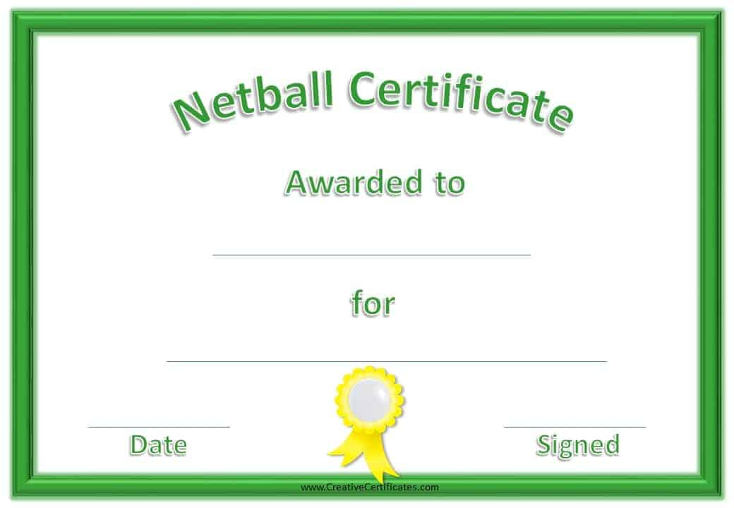 Free Netball Certificates for Best Most Improved Player Certificate Template