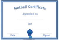 Free Netball Certificates for Netball Certificate Templates