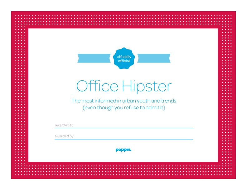 """Free Office Certificates I Like """"Office Hipster"""" And """"The pertaining to Amazing Superlative Certificate Template"""
