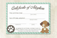 Free Pet Adoption Certificate Template Elegant Puppy Party inside Dog Adoption Certificate Template
