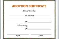 Free Printable Adoption Certificate  Free Printable intended for Stuffed Animal Adoption Certificate Editable Templates