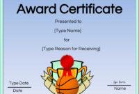 Free Printable Basketball Certificates  Customize Online with regard to Basketball Certificate Templates