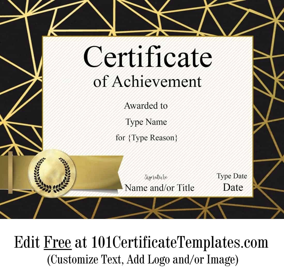 Free Printable Certificate Of Achievement  Customize Online regarding Quality Certificate Of Accomplishment Template Free