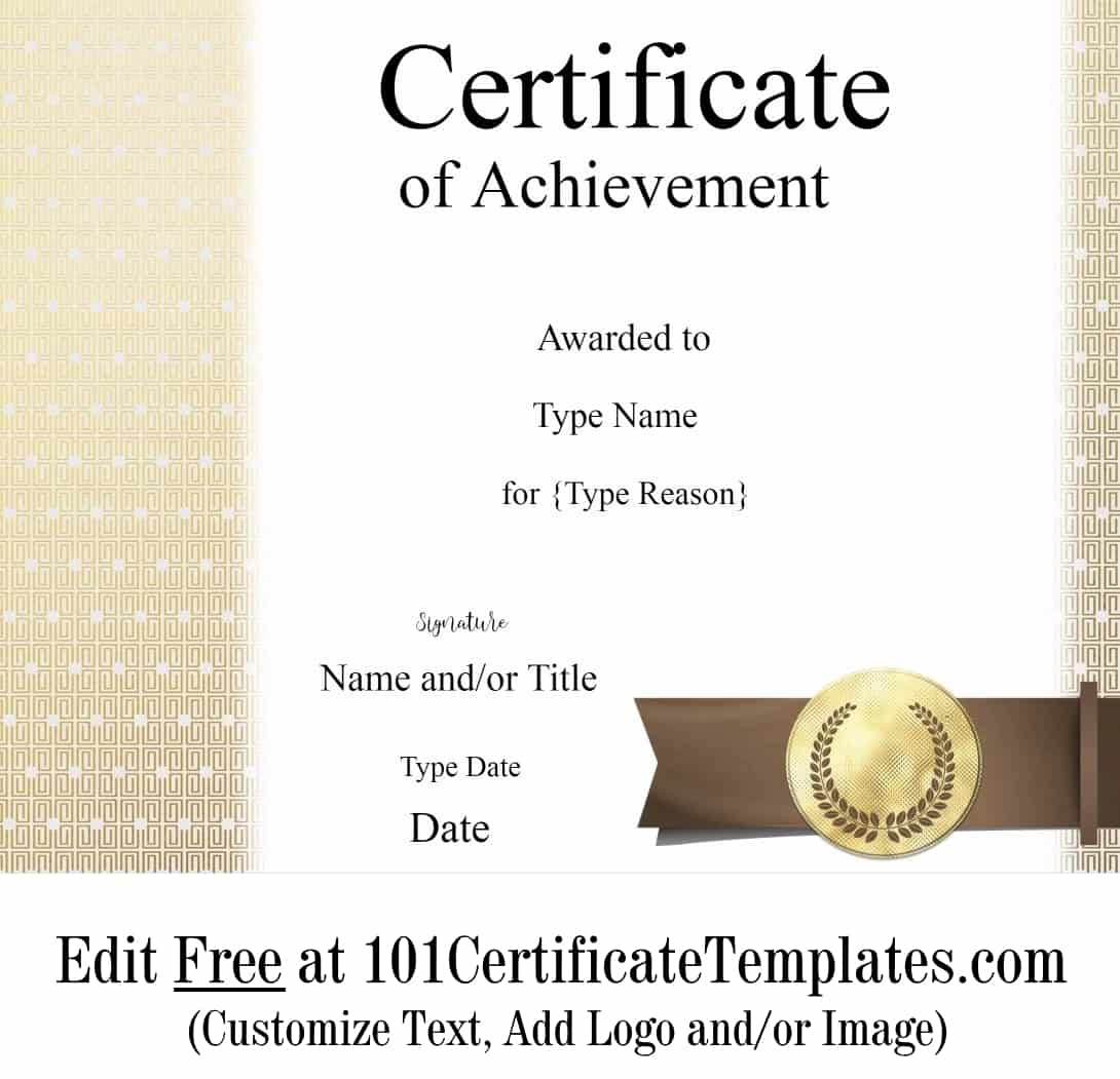 Free Printable Certificate Of Achievement  Customize Online with Free Printable Certificate Of Achievement Template