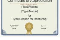 Free Printable Certificate Of Appreciation Template in Template For Recognition Certificate