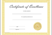Free Printable Certificates Of Excellence  Zohre Inside within Award Of Excellence Certificate Template