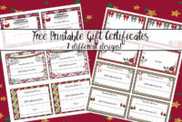 Free Printable Christmas Gift Certificates 7 Designs within Best Fillable Gift Certificate Template Free