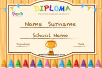 Free Printable Colorful Kids Diploma Certificate Template intended for Best Free Printable Graduation Certificate Templates