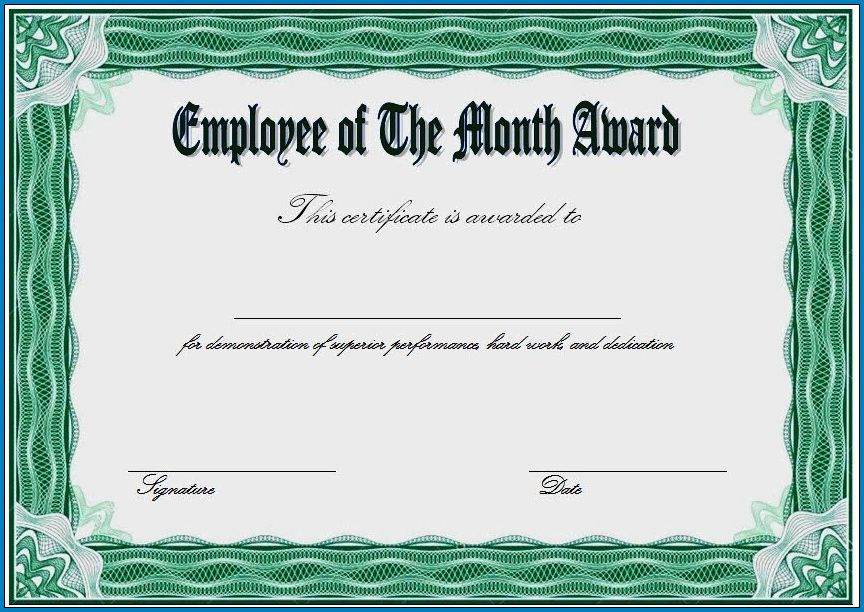 Free Printable Employee Of The Month Certificate Template with regard to Best Best Employee Certificate Template