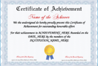 Free Printable Fillable Certificate Of Achievement  News Word with regard to Word Template Certificate Of Achievement