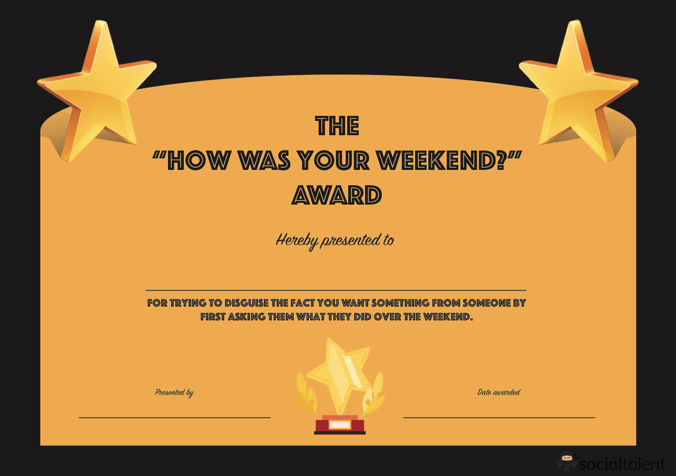 Free Printable Funny Office Awards  Free Printable within Quality Great Work Certificate Template