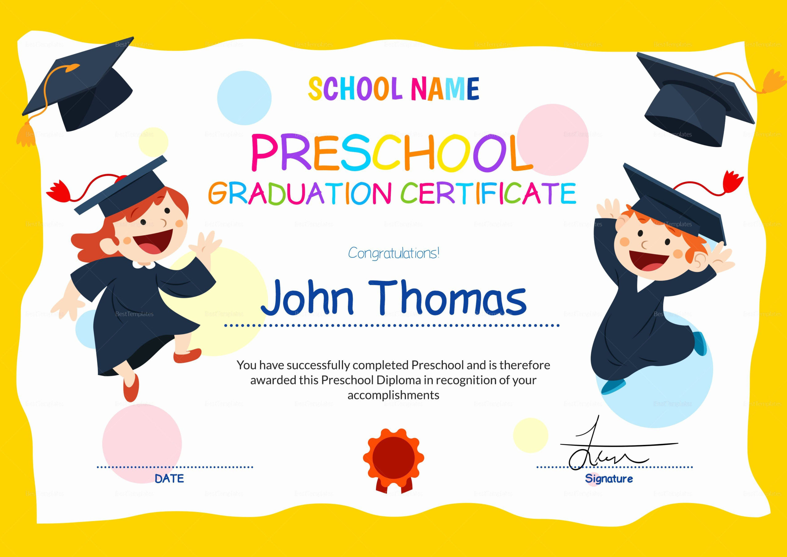 Free Printable Graduation Certificate Templates In 2020 intended for Kindergarten Diploma Certificate Templates 10 Designs Free