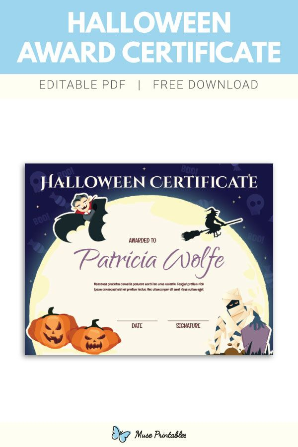 Free Printable Halloween Award Certificate Template The with Awesome Halloween Costume Certificate Template