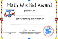 Free Printable Math Certificate Of Achievement intended for Free Math Certificate Template