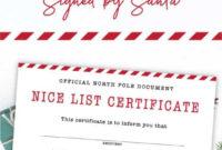 Free Printable Nice List Certificate  Nice List in Santas Nice List Certificate Template Free