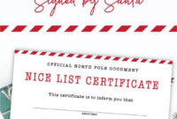Free Printable Nice List Certificate  Signedsanta within Amazing Free 9 Naughty List Certificate Templates