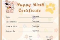 Free Printable Pet Birth Certificate Templates  Deola for Cat Adoption Certificate Template