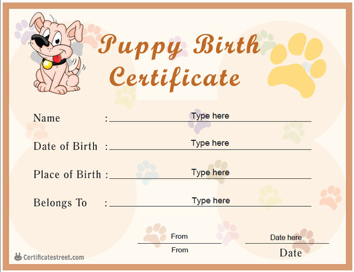 Free Printable Pet Birth Certificate Templates  Deola for Cat Adoption Certificate Templates