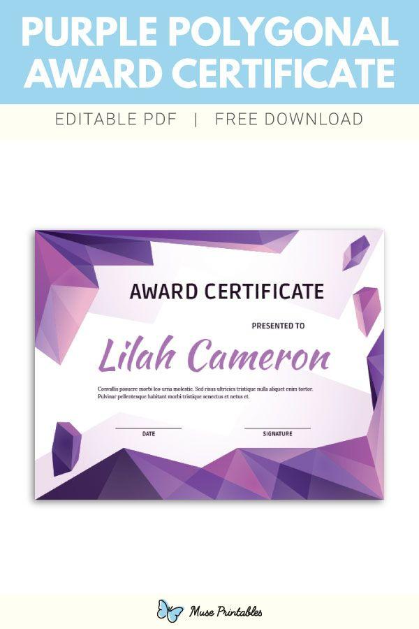 Free Printable Purple Polygonal Award Certificate Template regarding Piano Certificate Template Free Printable
