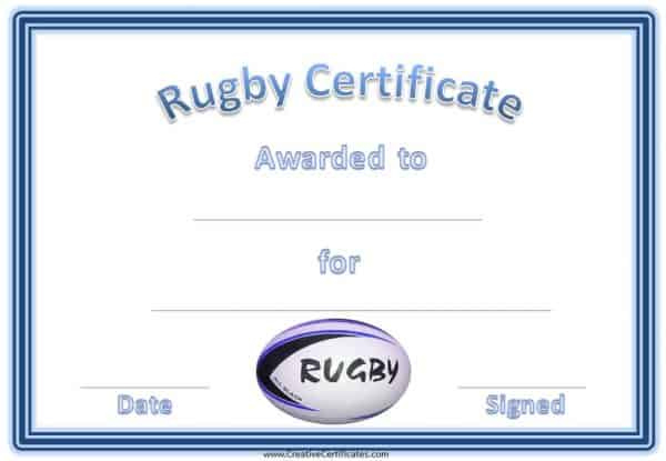 Free Printable Rugby Award Certificate for Rugby Certificate Template