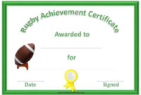 Free Printable Rugby Award Certificate inside Running Certificate Templates 10 Fun Sports Designs