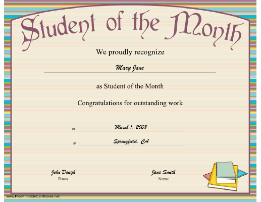 Free Printable Student Of The Month Certificate Templates with regard to Quality Student Leadership Certificate Template Ideas