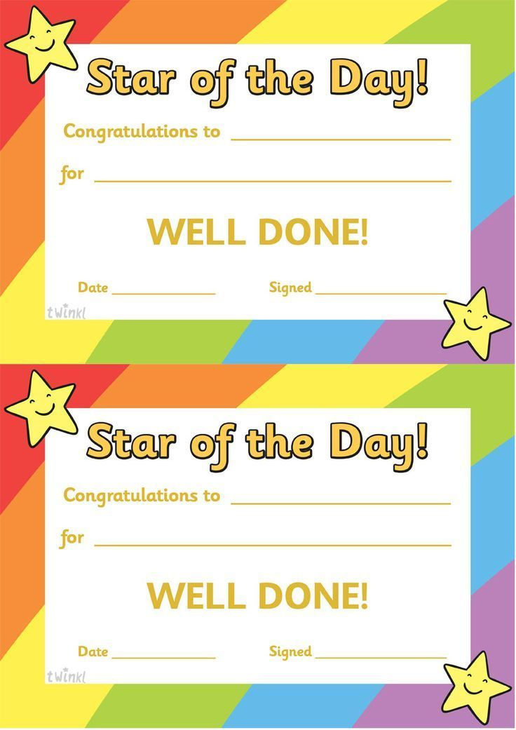 Free Printable Use These Star Of The Day Certificates To throughout Printable Good Behaviour Certificate Template 10 Kids Awards