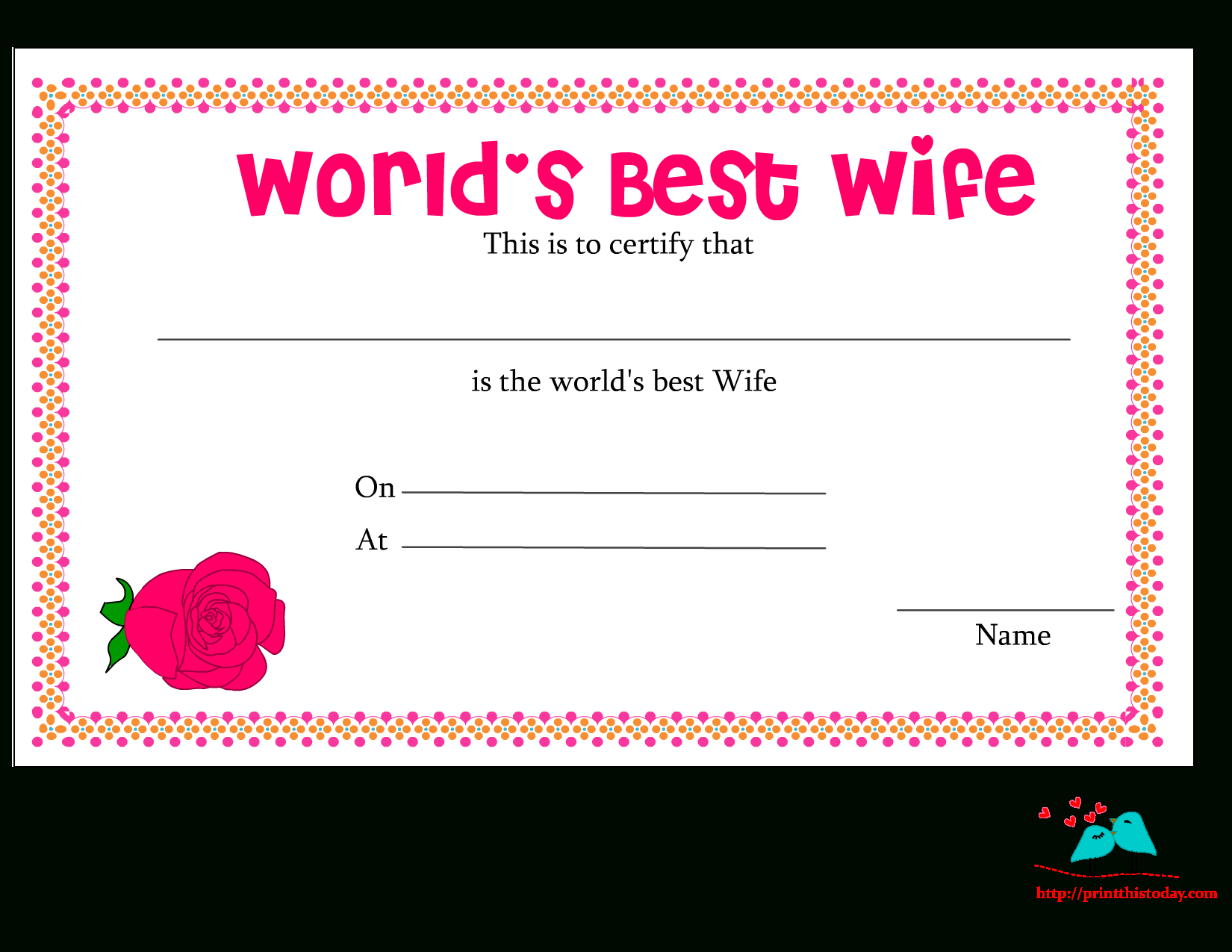 Free Printable World'S Best Wife Certificates for Amazing 9 Worlds Best Mom Certificate Templates Free