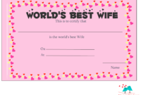 Free Printable World'S Best Wife Certificates throughout Love Certificate Templates