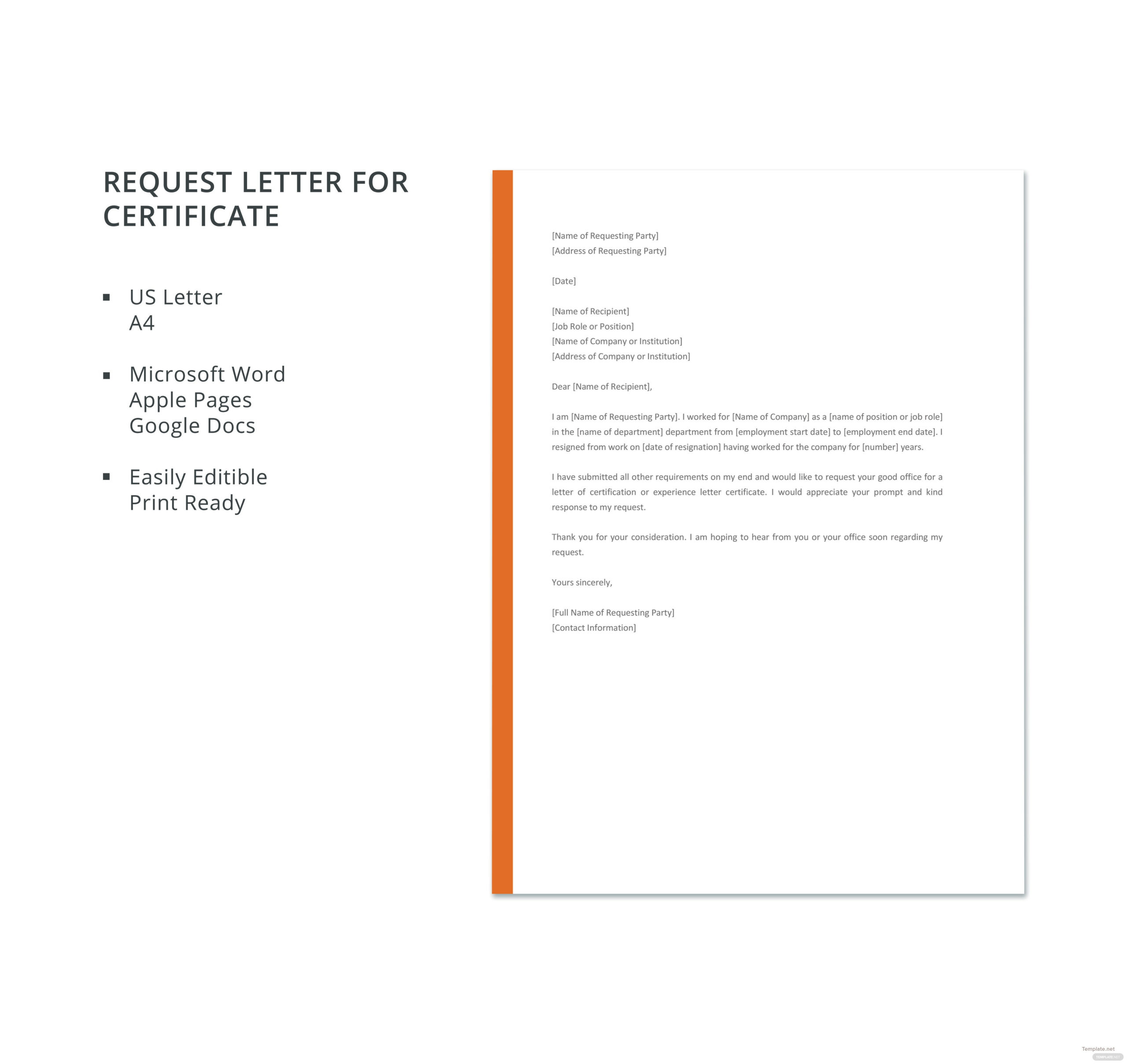 Free Request Letter For Certificate Template In Microsoft in Printable Word 2013 Certificate Template