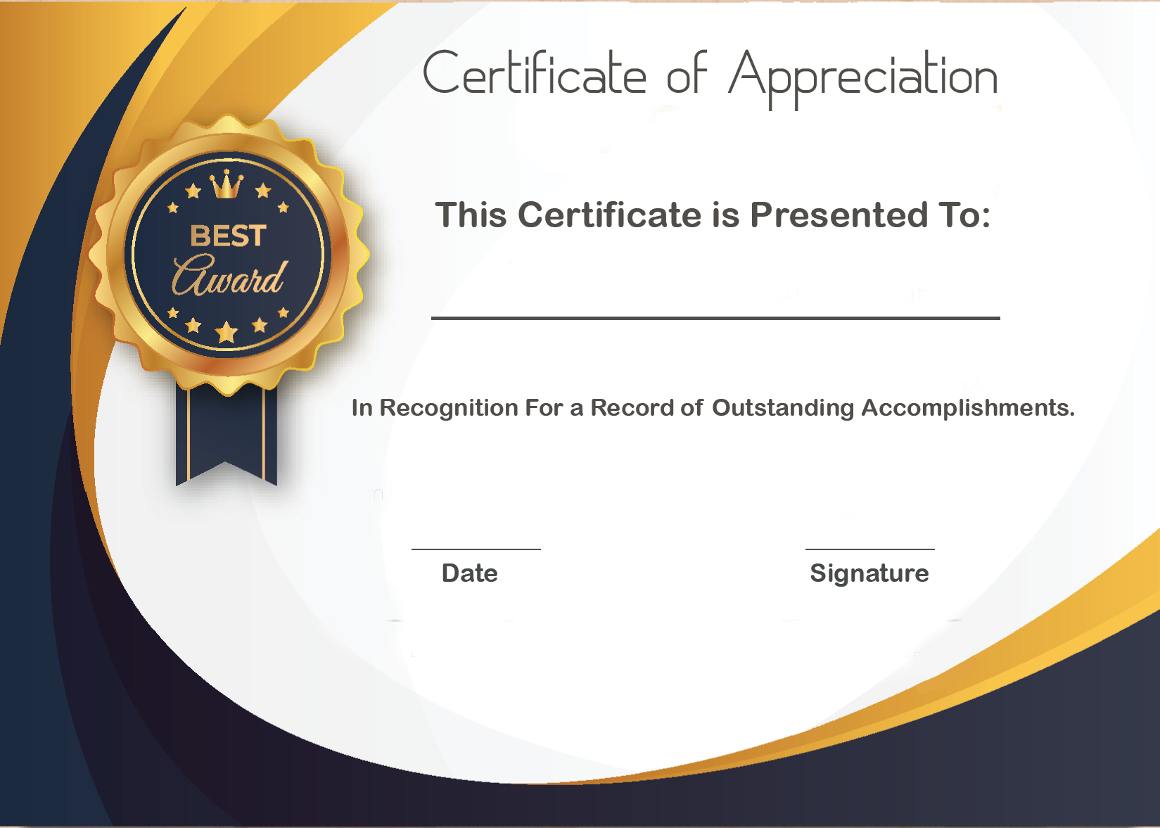 Free Sample Format Of Certificate Of Appreciation Template inside Amazing Free Template For Certificate Of Recognition