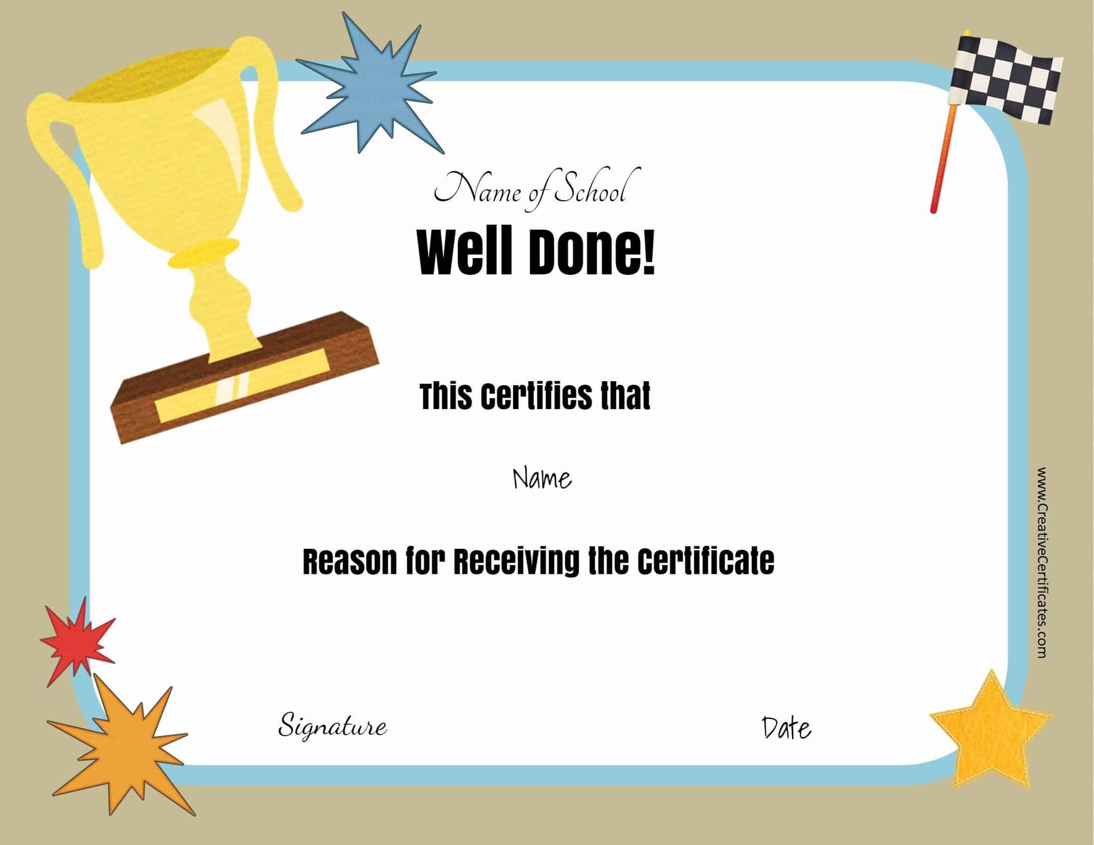 Free School Certificates  Awards For Free School for Printable Free School Certificate Templates