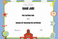 Free School Certificates  Awards intended for Best Good Behaviour Certificate Templates