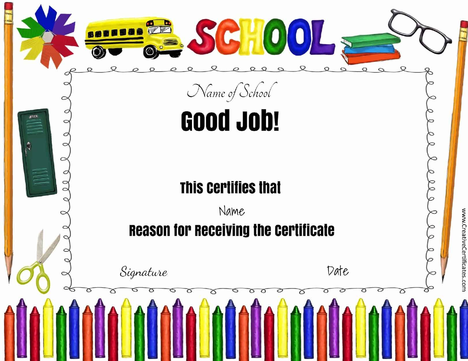 Free School Certificates  Awards intended for Printable Physical Education Certificate Template Editable