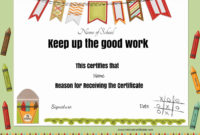 Free School Certificates  Awards with Good Job Certificate Template