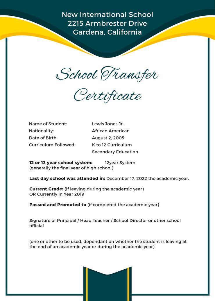 Free School Transfer Certificate  Certificate Templates regarding Best Physical Education Certificate 8 Template Designs