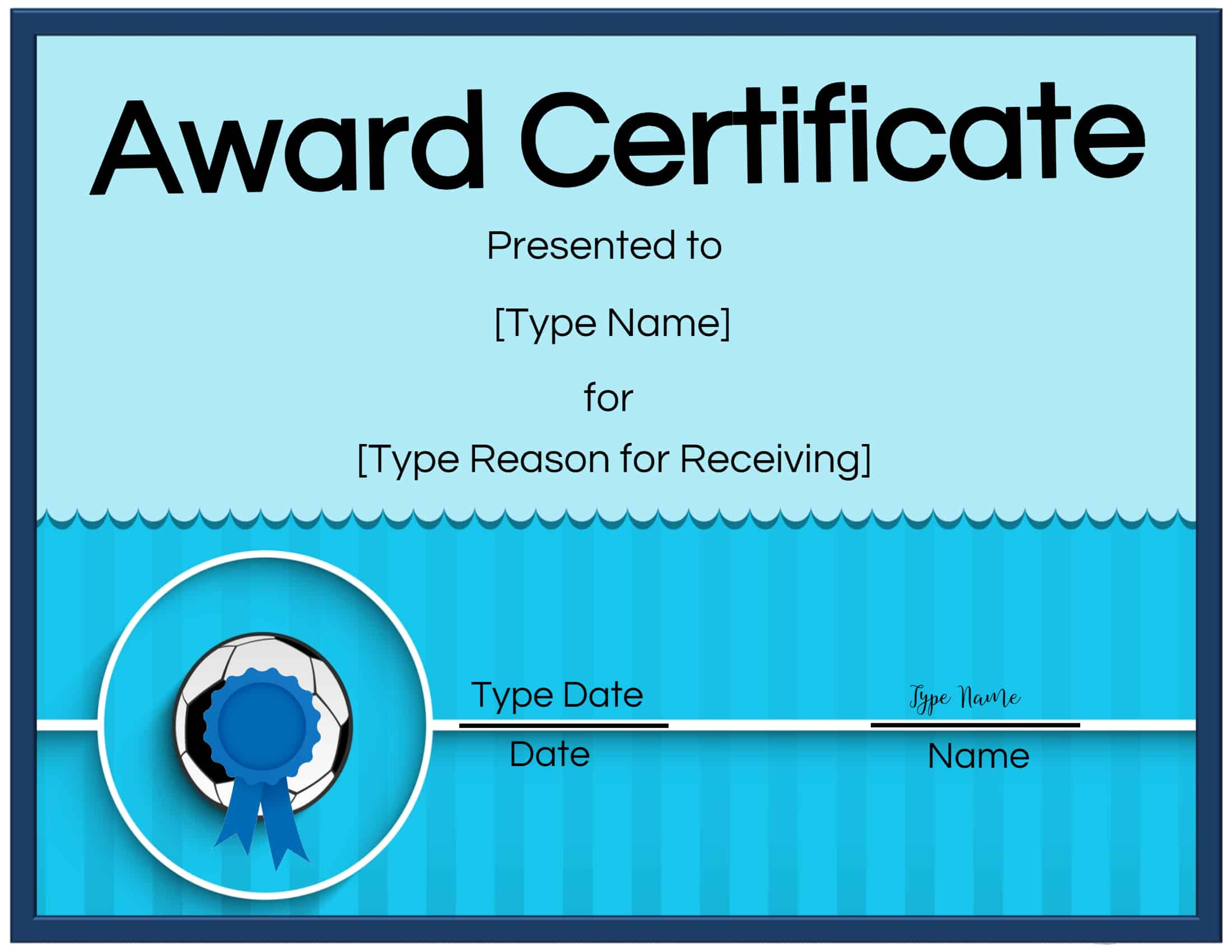 Free Soccer Certificate Maker  Edit Online And Print At Home for Volleyball Participation Certificate
