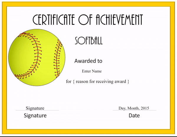 Free Softball Certificate Templates  Customize Online for Best Printable Softball Certificate Templates
