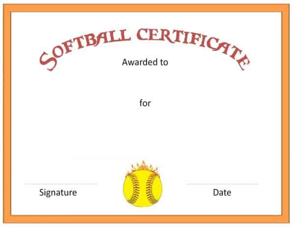 Free Softball Certificate Templates  Customize Online inside Softball Award Certificate Template