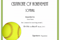 Free Softball Certificate Templates  Customize Online throughout Quality Baseball Certificate Template Free 14 Award Designs