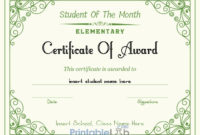 Free Student Of The Month Award  Elementary Certificate throughout Free Free Printable Student Of The Month Certificate Templates