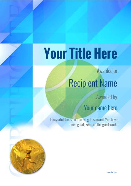 Free Tennis Certificate Templates  Add Printable Badges with Printable Tennis Certificate Template Free