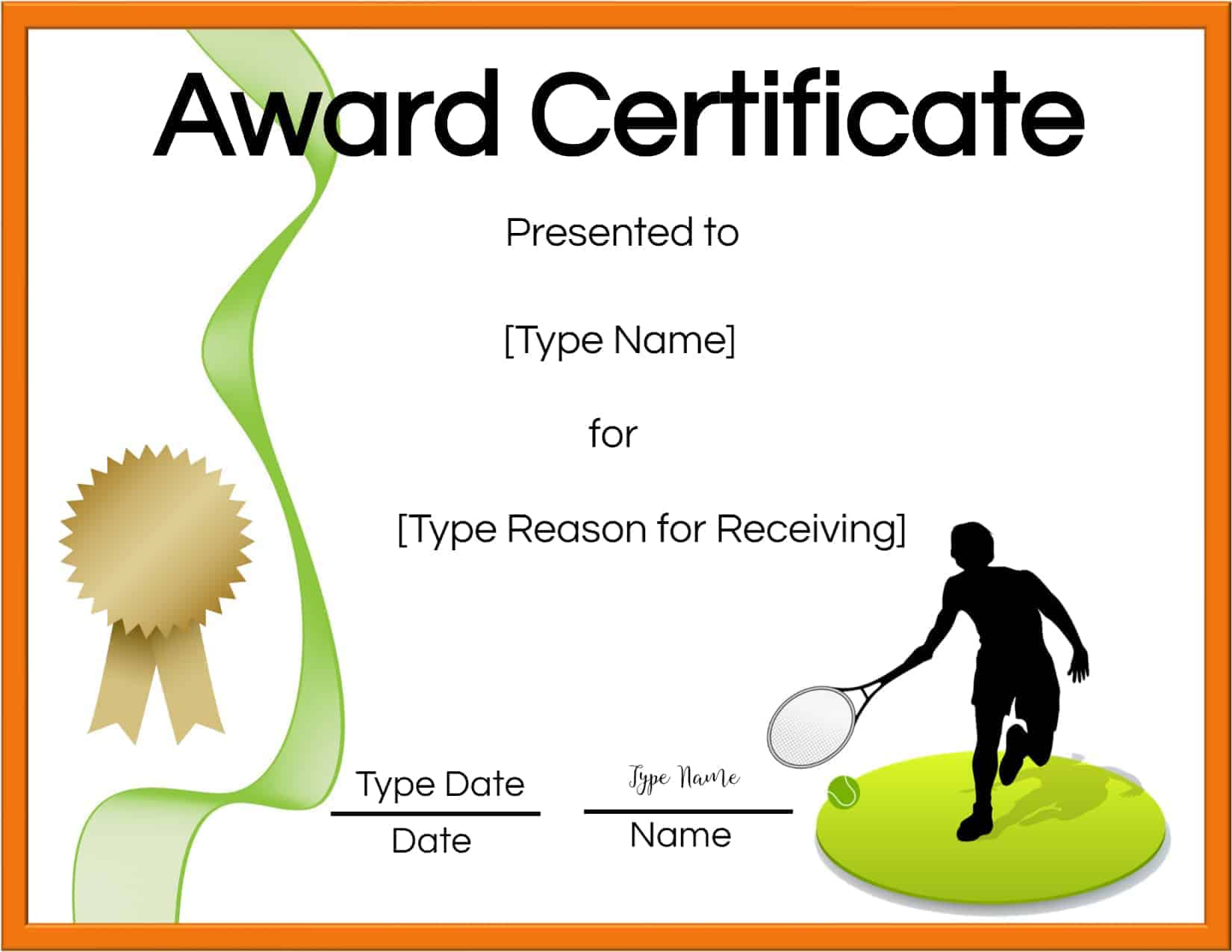 Free Tennis Certificates  Edit Online And Print At Home for Free Tennis Certificate Template