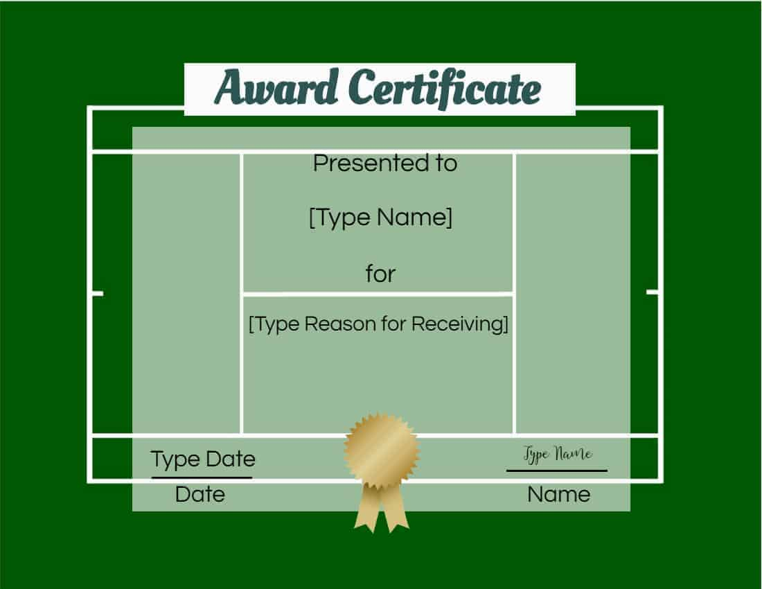 Free Tennis Certificates  Edit Online And Print At Home regarding Free Tennis Certificate Template