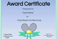 Free Tennis Certificates  Edit Online And Print At Home regarding Tennis Certificate Template Free