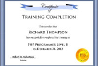 Free Training Certificate Template For Word  Sample within Training Certificate Template Word Format