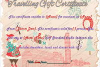 Free Travel Gift Certificate Template 3  Templates for Printable Gift Certificate Template In Word 10 Designs